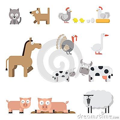 Farm animal set Vector Illustration