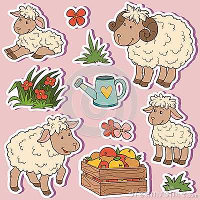Free Farm Animals Set, Vector Stickers With Sheep Family Stock Image - 59013361