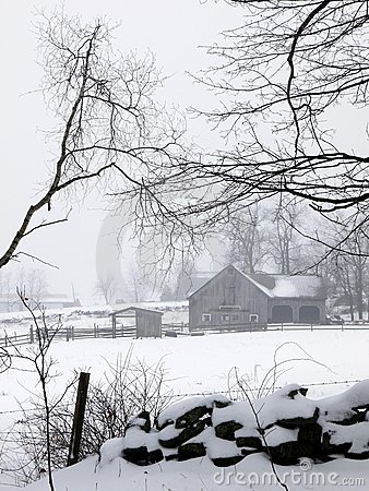 Farm: barn in fog and snow - v