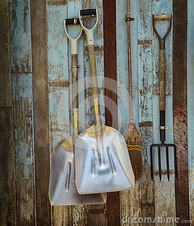 Free Farm Cart Ifarm Tool Pitchfork And Two Shovels Against Old Wooden Wall Use As Rural Farm Scene Solated White Background Stock Photos - 35801843