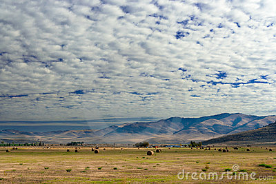 Farm with cumulus clouds, Montana