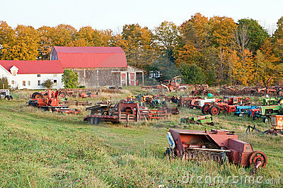 Farm equipment junkyard fall