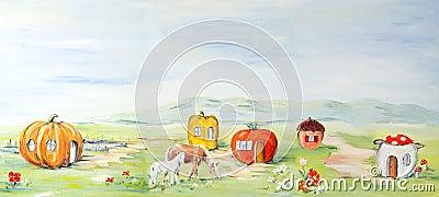 Farm fairytale landscape