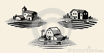 Farm, farming label set. Agriculture, agribusiness, farmhouse icon or logo. Vector illustration Vector Illustration