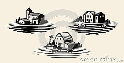 Farm, farming label set. Agriculture, agribusiness, farmhouse icon or logo. Vector illustration Vector Illustration