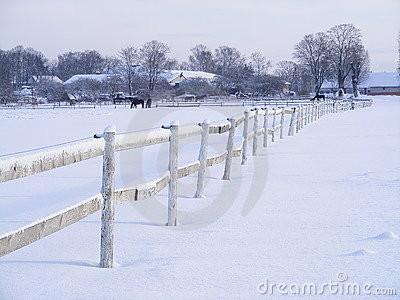 Farm fence in winter