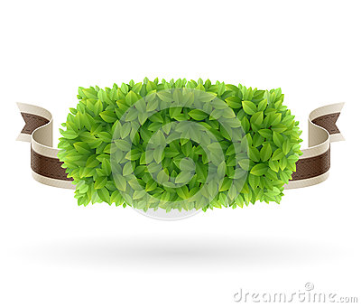 Farm Fresh label with green leaves texture