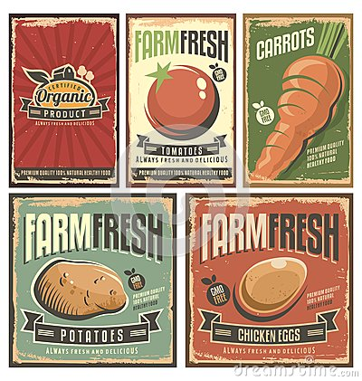 Free Farm Fresh Organic Products Retro Tin Signs Collection Royalty Free Stock Image - 63572456