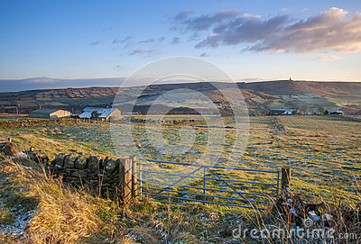 Farm gate and fields in yorkshire in winter