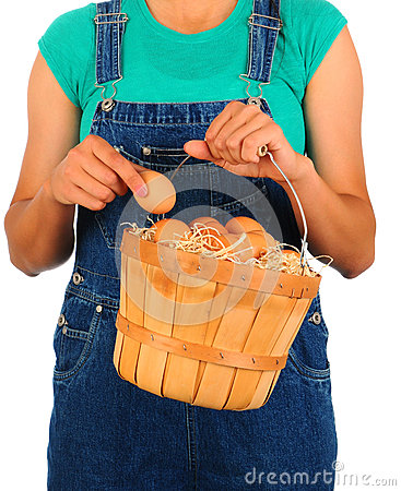Farm Girl with Basket of Eggs