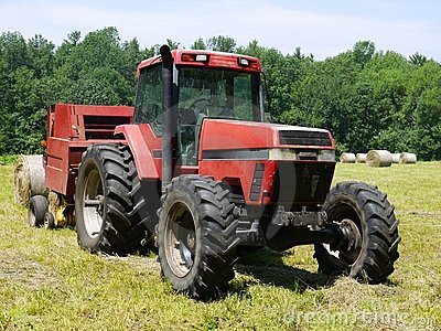 Farm: haymaking tractor and baler