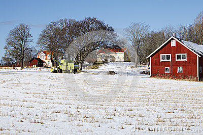Farm house, snow and winter