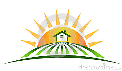 Farm House with sun