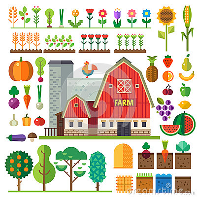Free Farm In Village. Elements For Game Stock Photos - 55020023