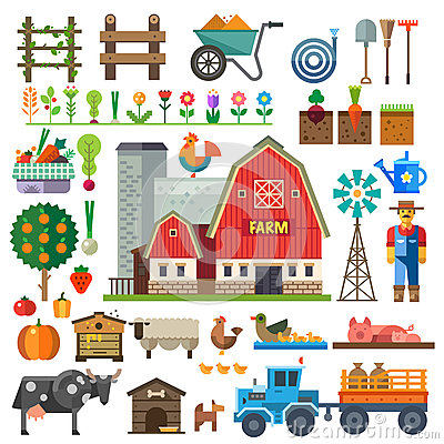 Free Farm In Village. Elements For Game Royalty Free Stock Photo - 55020045