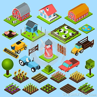 Free Farm Isometric Icons Set Stock Photography - 55742812