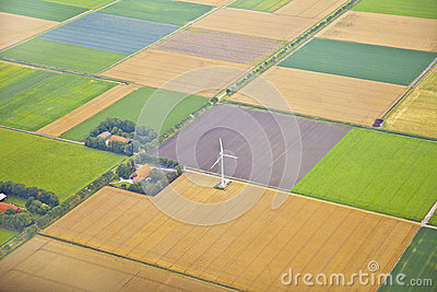 Farm landscape with windmill  from above