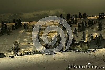 Farm on a mountain ridge