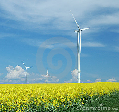Free Farm Of Windturbines Close To Field Stock Images - 6078484