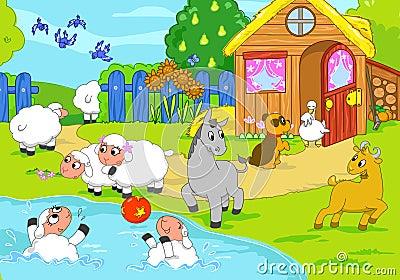 Farm and playing animals. Digital illustration.