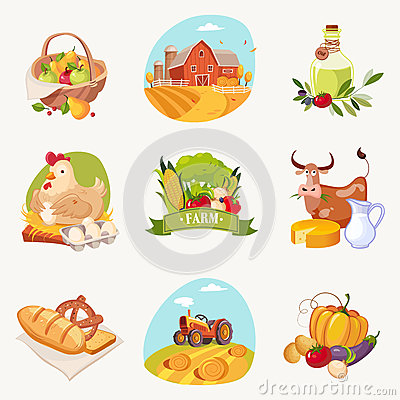 Free Farm Related Objects Set Of Bright Stickers Stock Photography - 79735572