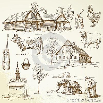 Farm, rural houses