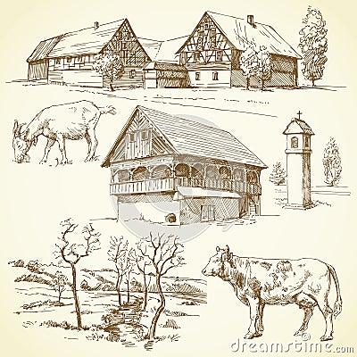 Farm, rural landscape, agriculture