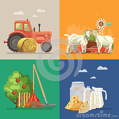 Free Farm Rural Landscape With Goats, Dairy, Tractor, Apple Tree. Line Art. Agriculture Vector Illustration. Royalty Free Stock Photos - 94384218