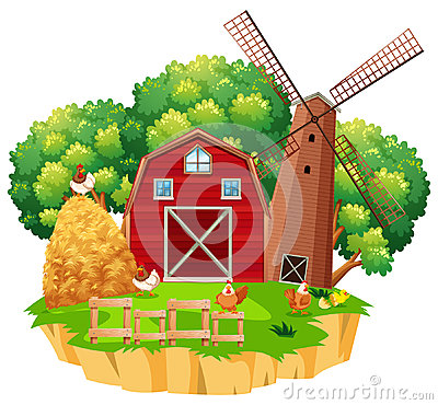 Farm scene with red barn and wooden windmill Cartoon Illustration