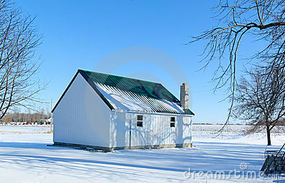 Farm shed in winter