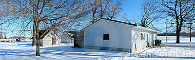 Farm shed in winter