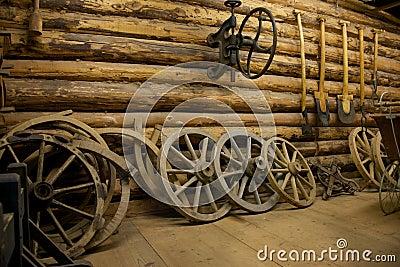 Farm tools in a barn