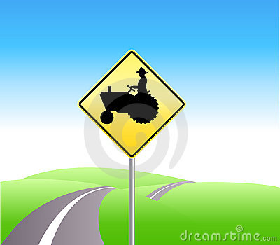 Farm tractor crossing caution
