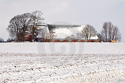 Farm in a white winter landscape
