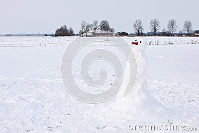 Farm in a white winter landscape