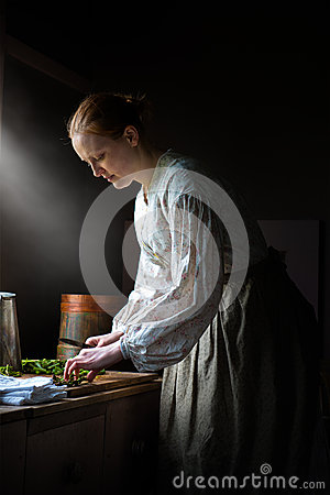 Free Farm Wife Cooking Dinner, Food Royalty Free Stock Image - 71465966
