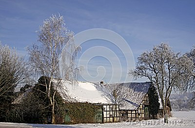 Farm in winter in Germany