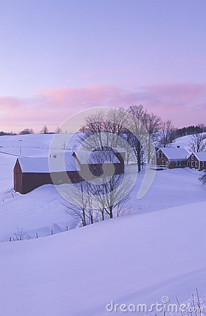 Farm with winter snow