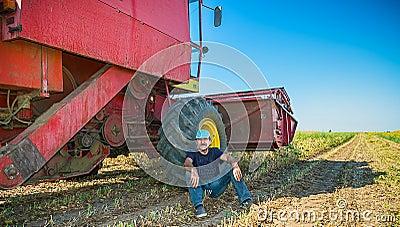 Farmer on a break Stock Photo