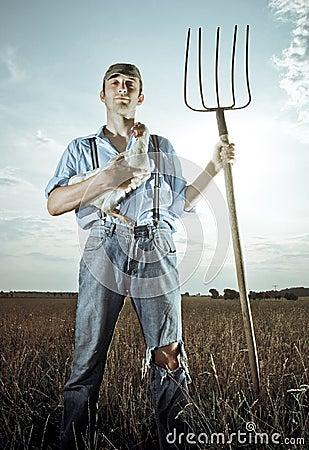 Farmer with Chicken