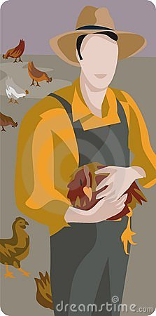 Farmer with a Chicken