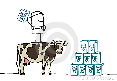 Farmer & cow producing milk