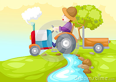 Farmer driving a car