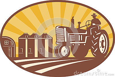Farmer Driving Vintage Tractor Retro Woodcut
