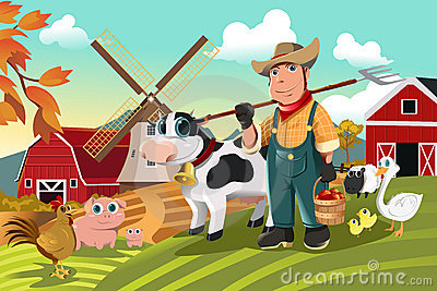 Farmer at the farm with animals