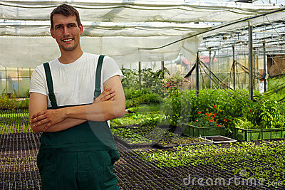 Farmer in greenhouse