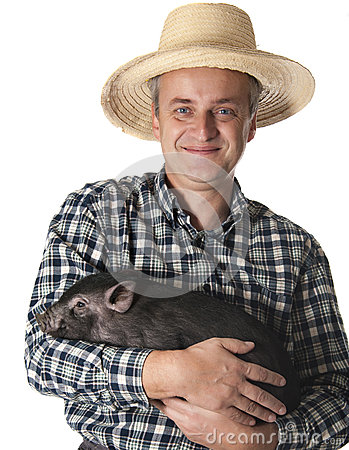 Farmer with a little black pig
