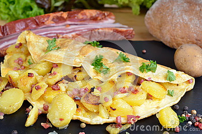 ... bacon and fried potato omelette bacon bacon and fried potato omelette