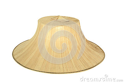Farmer s hat made by palm wicker isolated on white