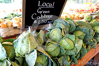 Farmers Market Stand Selling Cabbage